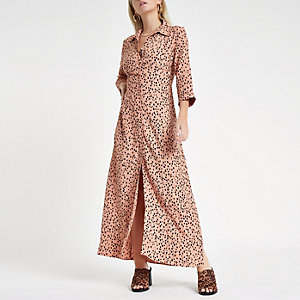 Petite brown print shirt maxi dress