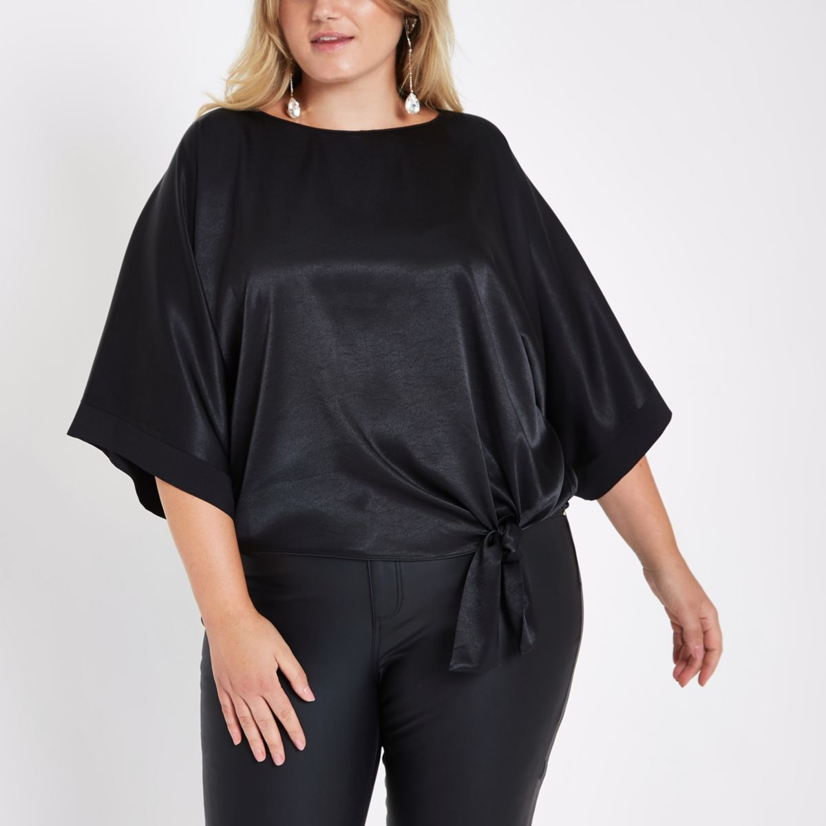 Plus black loose fit knot front top