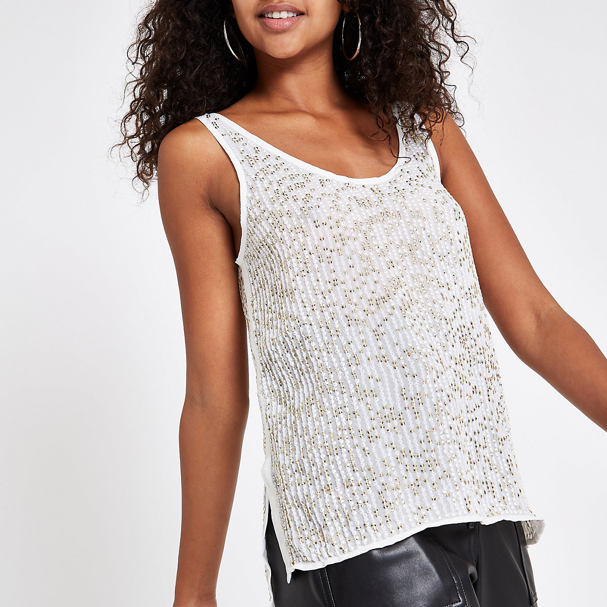Gold sequin embellished cami top