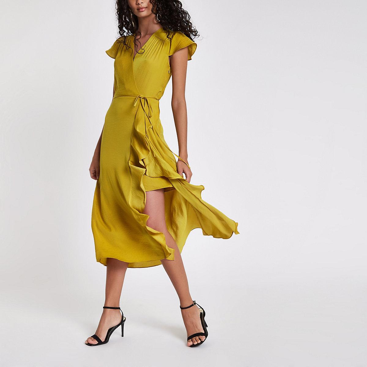 Yellow frill wrap front midi dress