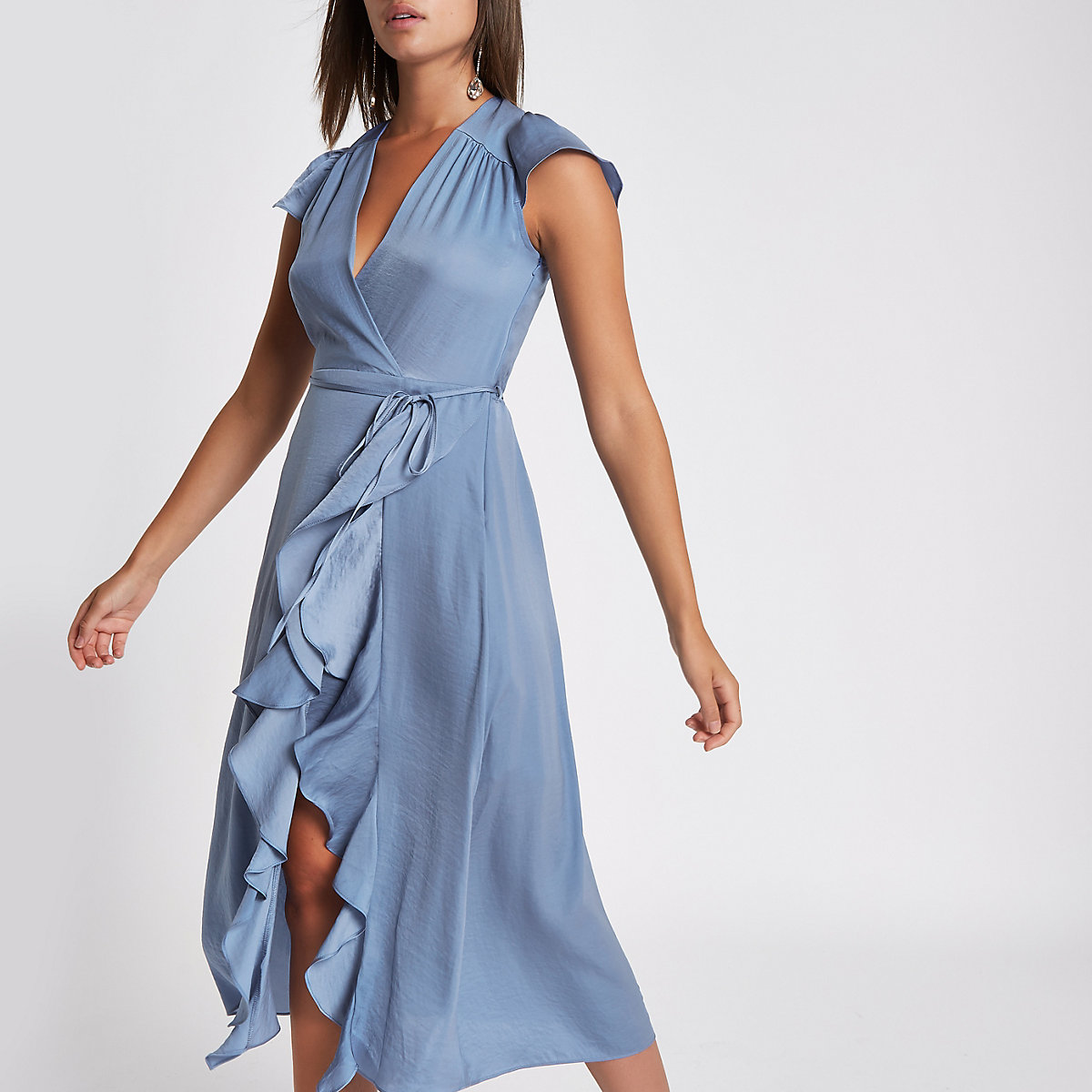 Blue frill wrap front midi dress