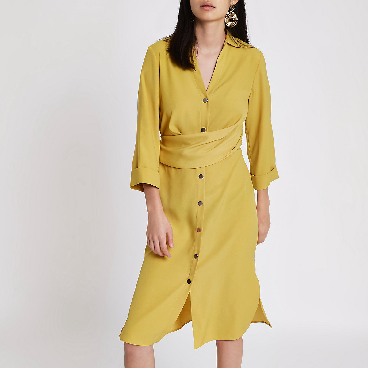 Dark yellow twist front midi shirt dress
