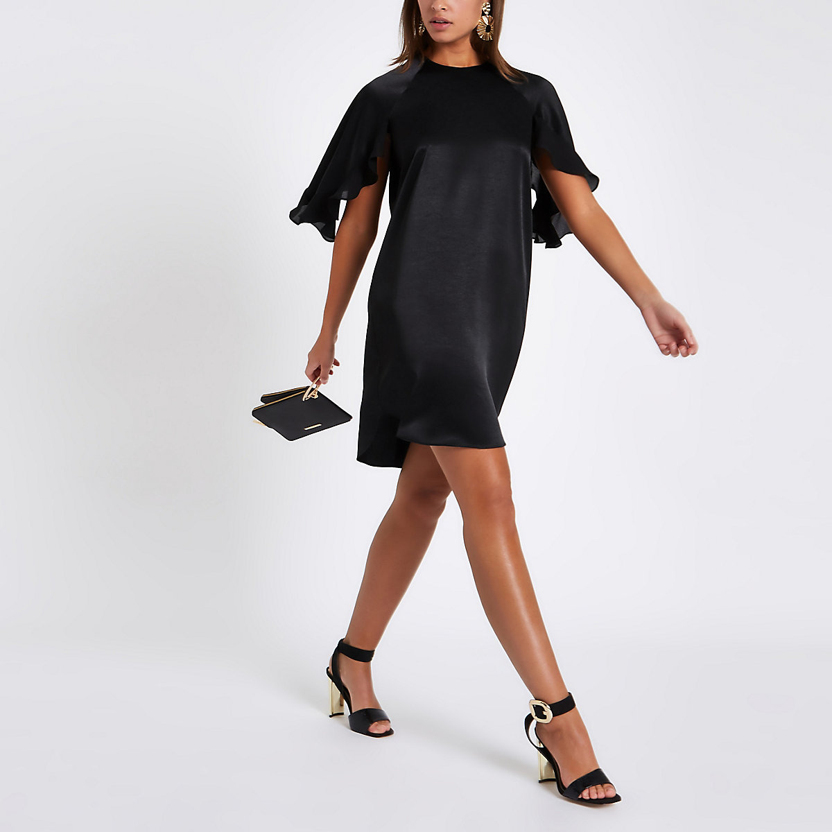 Black frill sleeve swing dress