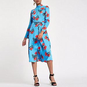 Blauwe hoogsluitende midi-jurk met bloemenprint