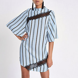 Light blue stripe swing dress