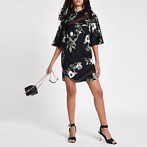 Black floral lace trim swing dress