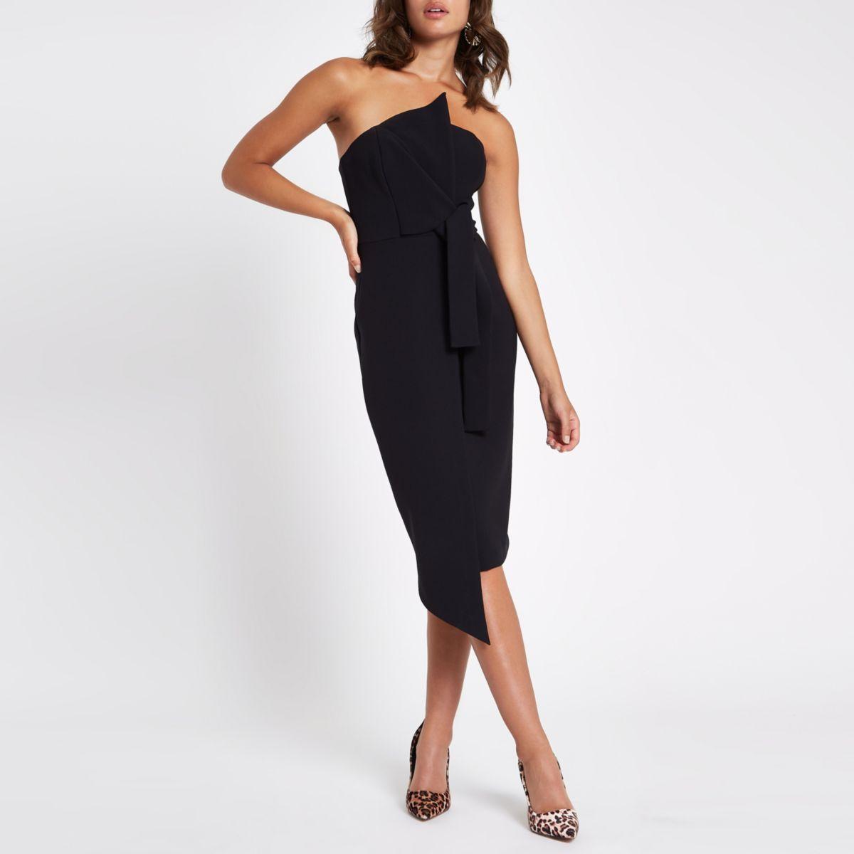 Black bandeau bodycon midi dress