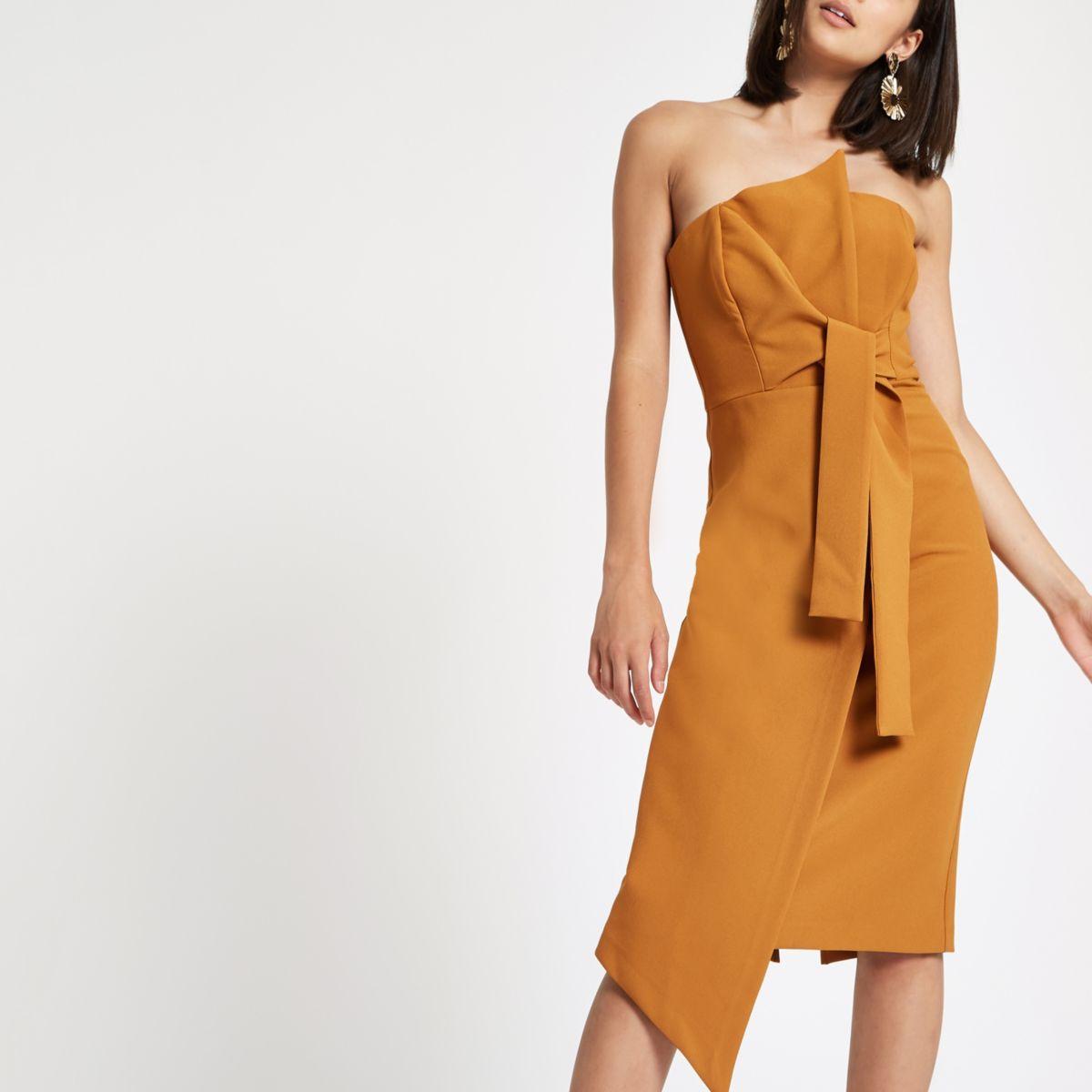 Dark yellow bandeau bodycon midi dress