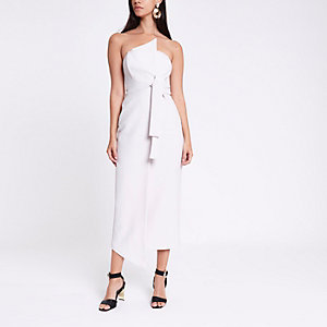 Grey bandeau bodycon maxi dress