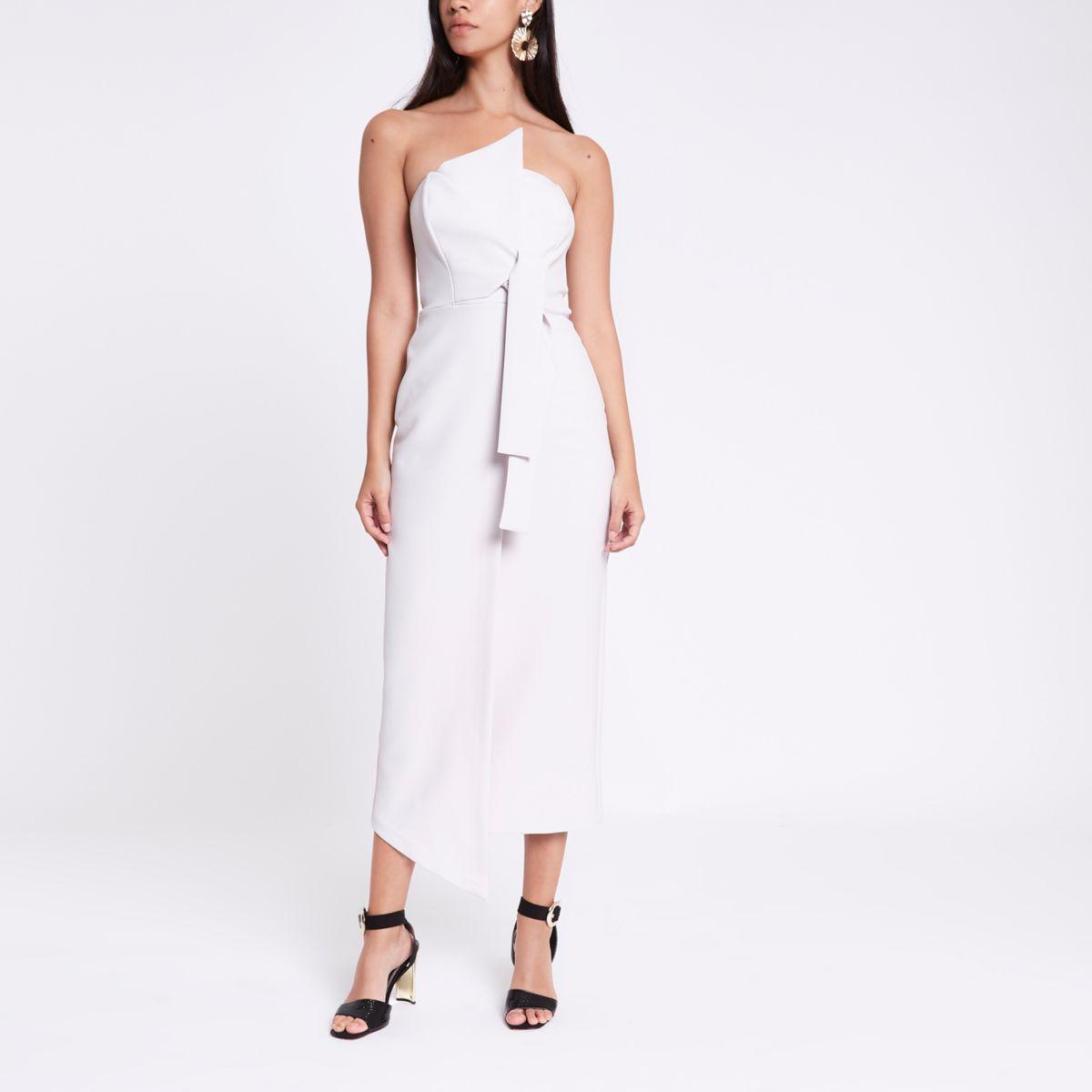 Grey bandeau bodycon maxi dress