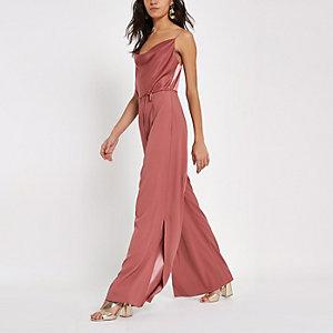 Dark pink cowl neck cami strap jumpsuit