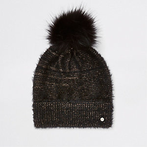 Black gold threaded faux fur beanie hat