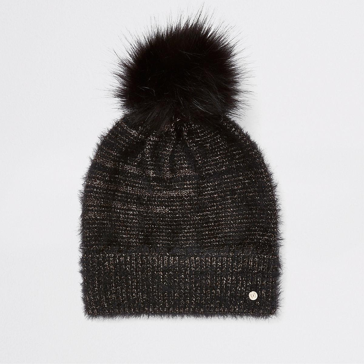 Black gold threaded faux fur beanie hat