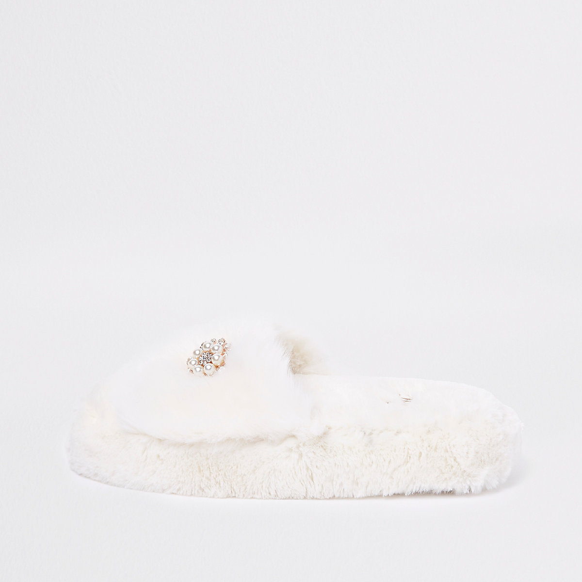 Cream faux fur platform sliders