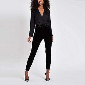 Black wrap front long sleeve bodysuit