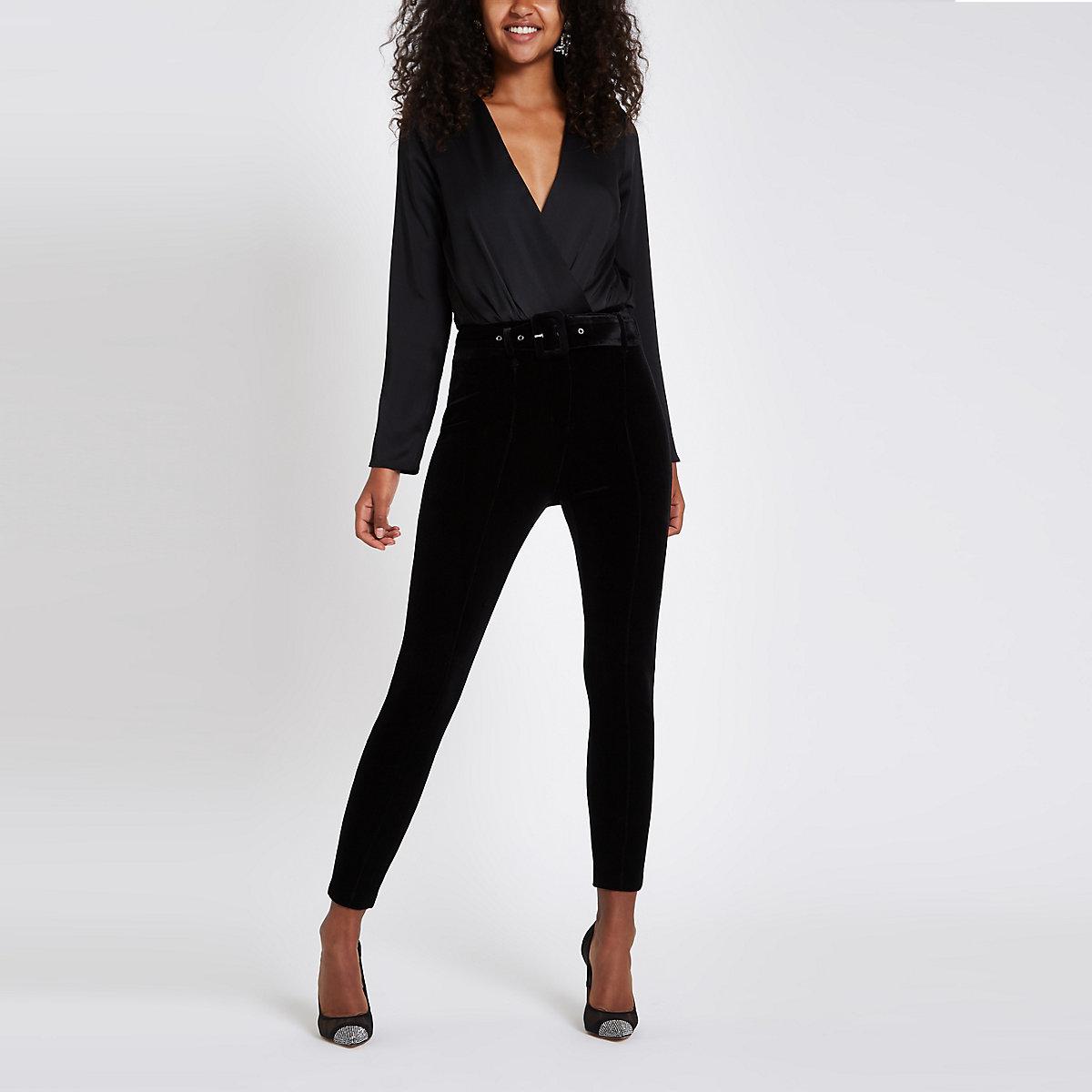 Black wrap front shoulder pad bodysuit