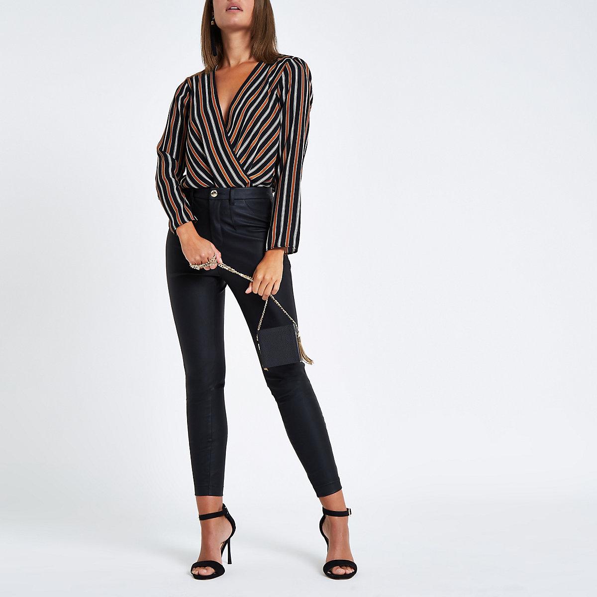 Brown stripe wrap front shoulder pad bodysuit