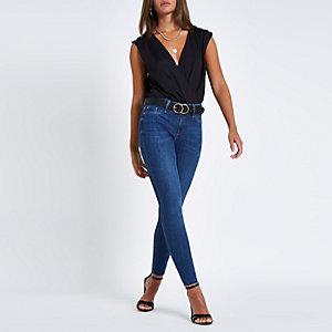 Black wrap front sleeveless bar back bodysuit
