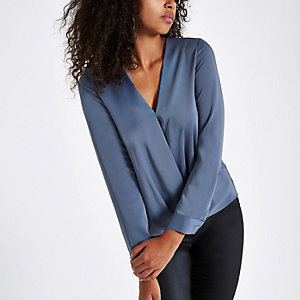 Blue satin tuck front blouse