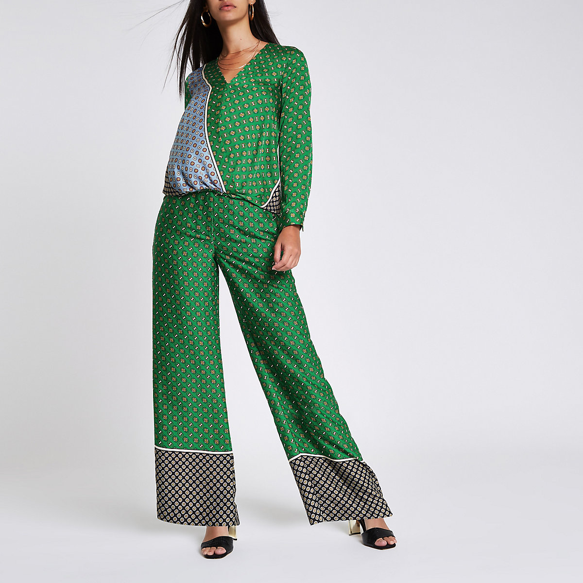 Green tile print wide leg pants