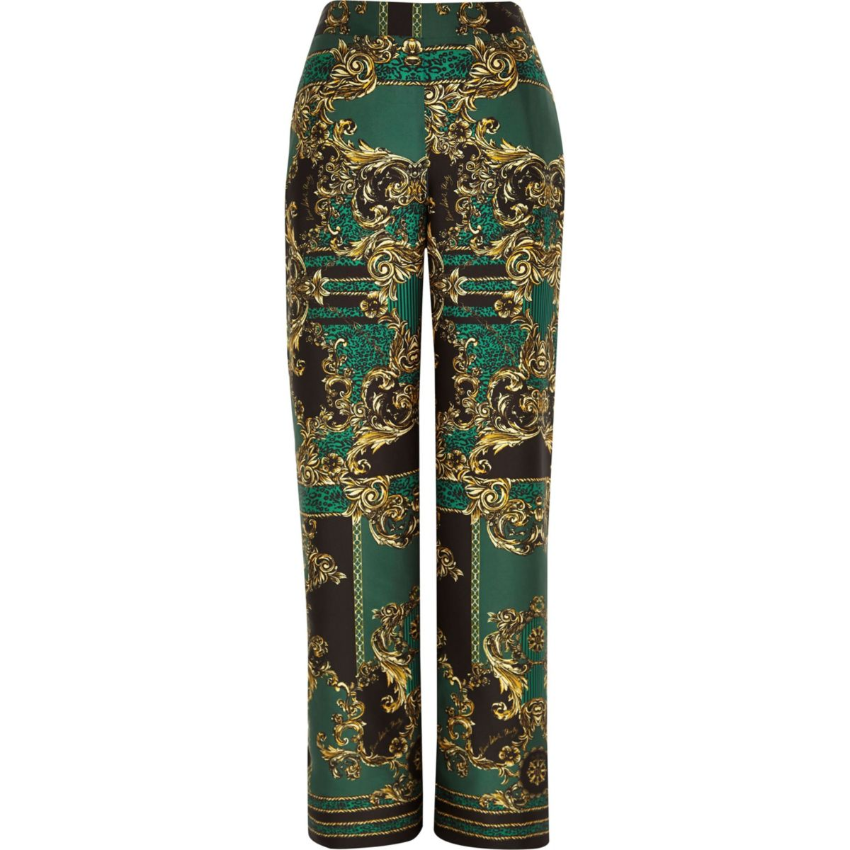 30 leg print trousers straight green wide RI qg7xwW66n