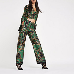 RI 30 green print straight wide leg trousers