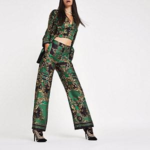 RI 30 green print straight wide leg pants