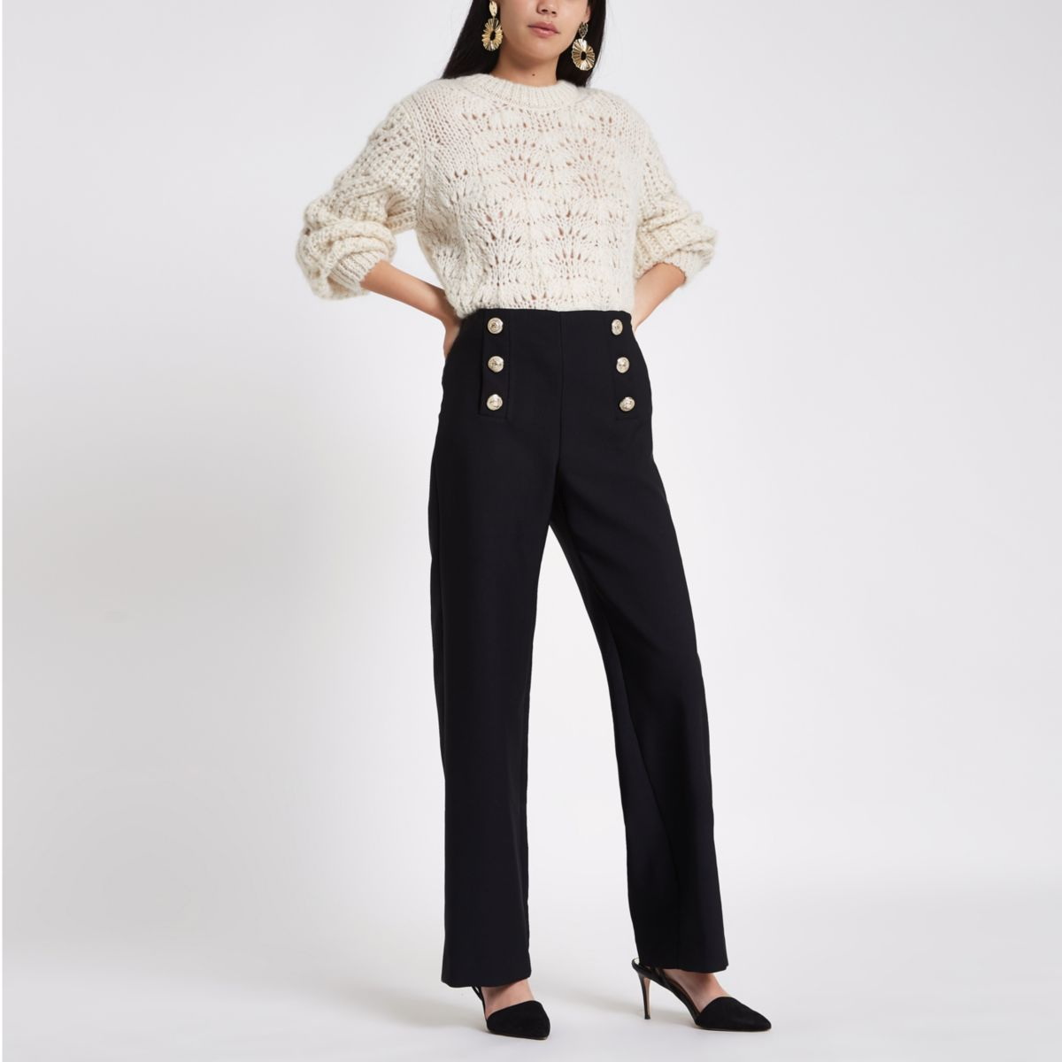 Black wide leg button detail trousers