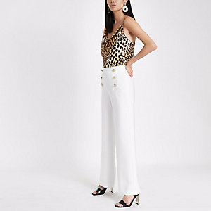 White wide leg button detail trousers