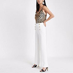 White wide leg button detail pants