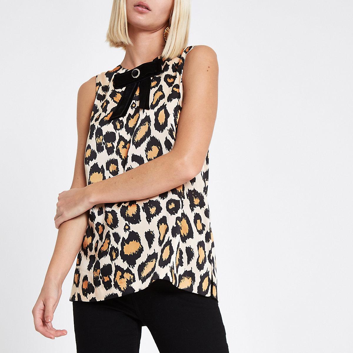 Brown satin leopard print bow trim top