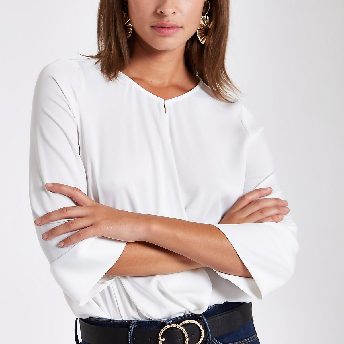 White wrap front blouse