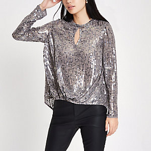 Grey sequin tuck front long sleeve top