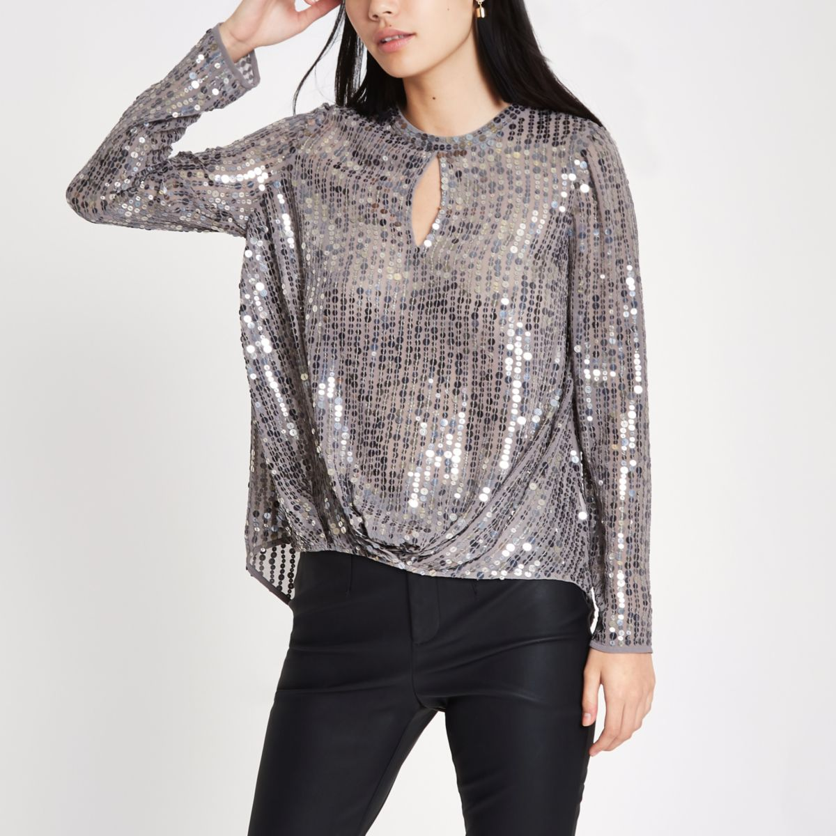 Grey sequin tuck front long sleeve top
