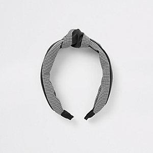 Zwarte haarband met gingham-ruit en print