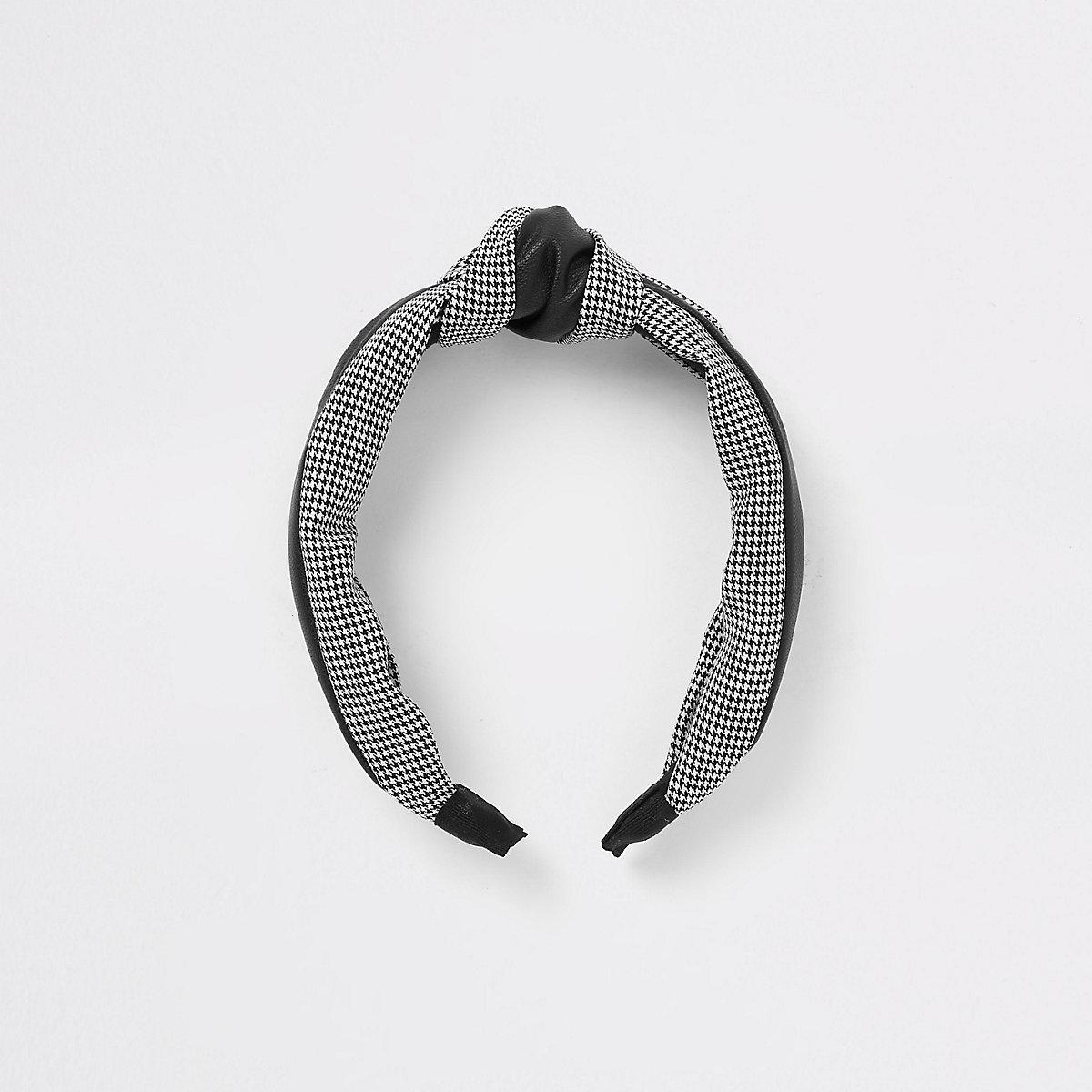 Black gingham print headband