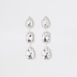 Silver rhinestone mixed shape drop earrings