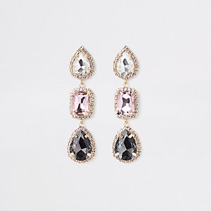 Gold tone diamante jewel drop earrings