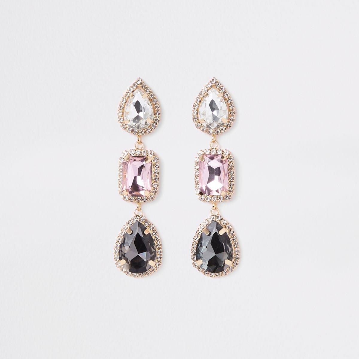 Gold tone diamante jewel drop earrings