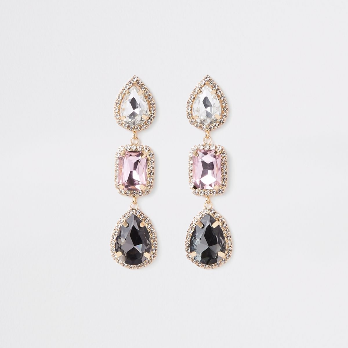 Gold tone rhinestone jewel drop earrings
