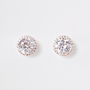 Rose gold embellished stud earrings