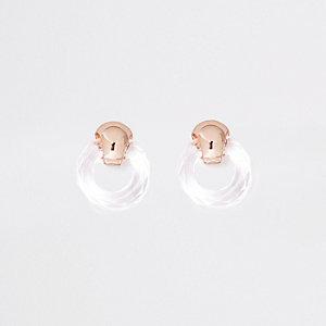 Clous d'oreilles dorés à anneau transparent