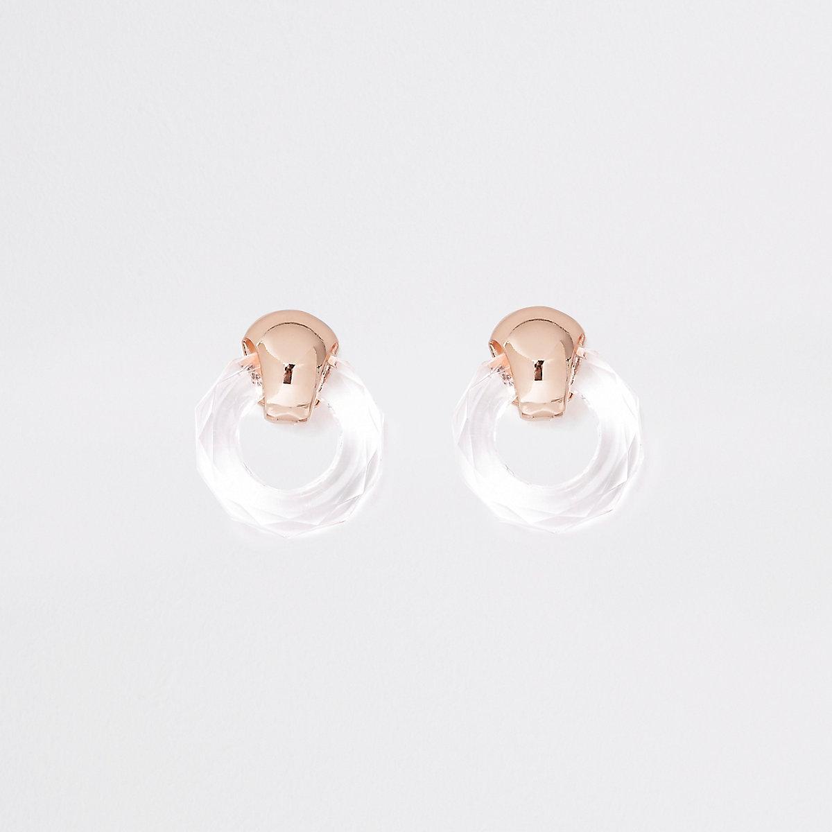 Gold tone clear hoop stud earrings