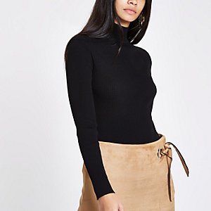 Black knit ribbed shoulder roll neck top