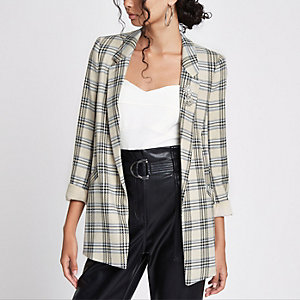Cream check ruched sleeve brooch blazer