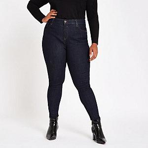 Plus – Amelie – Dunkelblaue, mittelhohe Skinny Jeans