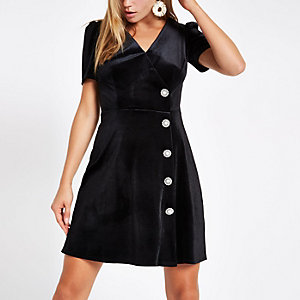 Black velvet embellished button mini dress