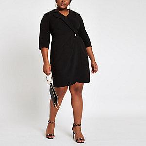 Plus – Robe croisée courte ajustée noire style smoking