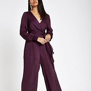Petite – Combinaison cache-cœur large violette