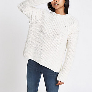 Petite cream cable knit crew neck sweater